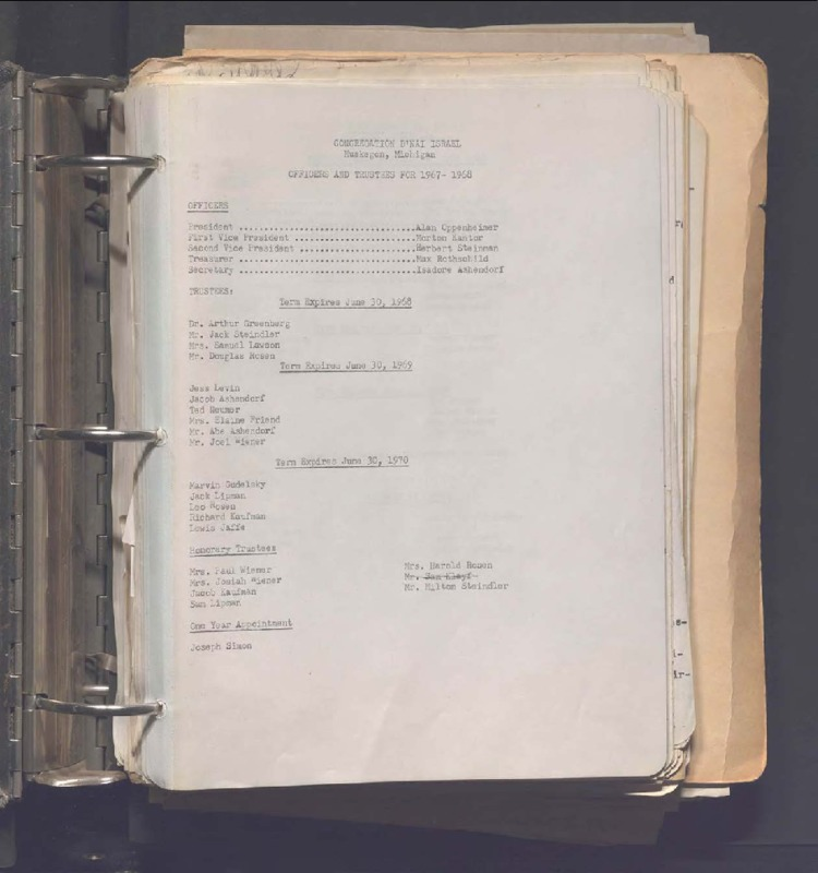 Go to B'nai Israel Temple Board of Trustees Minute Book, 1948-1968 item page