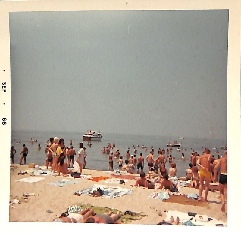 Go to Crowded beach overlooking Lake Michigan item page