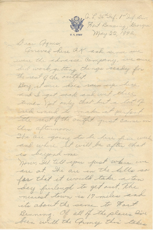 Go to Letter from Joe Olexa to Agnes Van Der Weide, May 22, 1942 item page