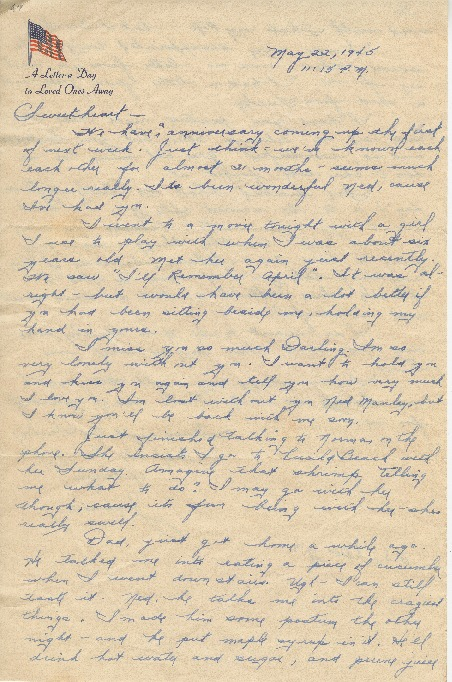 "Go to Letter to Edward ""Ned"" Manley by Jean Worthington, May 22, 1945. item page"