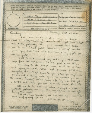 """Go to Letter to Jean Worthington by Edward """"Ned"""" Manley, September 13, 1945 item page"""