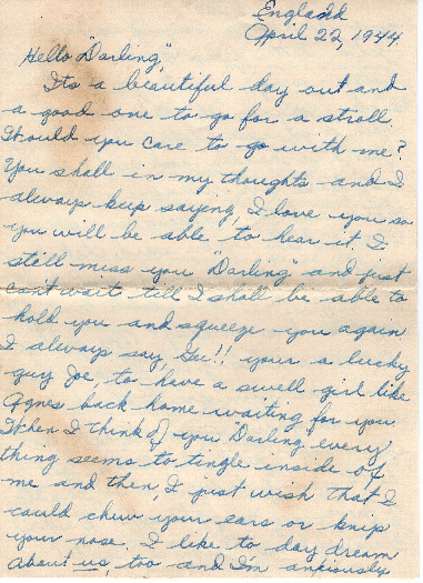 Go to Letter from Joe Olexa to Agnes Van Der Weide, April 22, 1944 item page