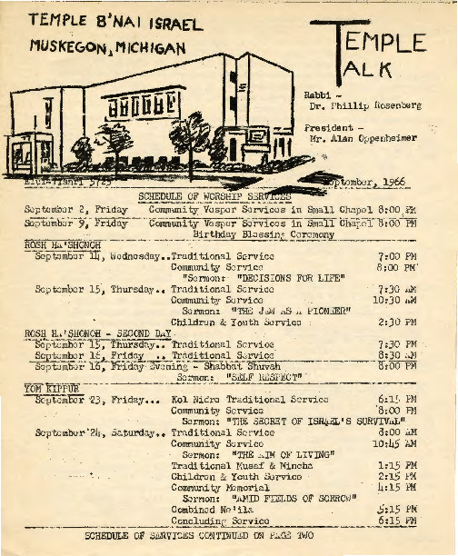 Go to Temple B'nai Israel Bulletin, September 2, 1966 item page