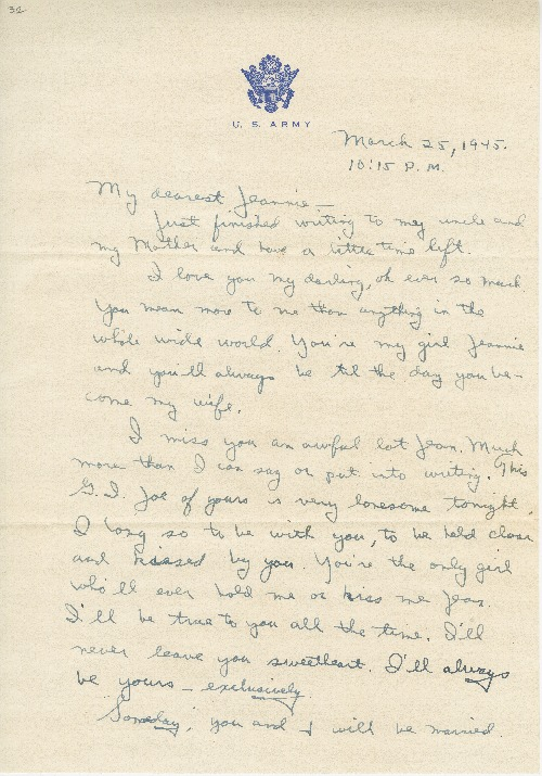 "Go to Letter to Jean Worthington by Edward ""Ned"" Manley, March 25, 1945. item page"