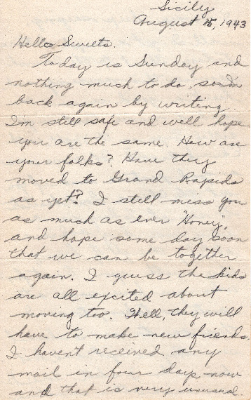 Go to Letter from Joe Olexa to Agnes Van Der Weide, August 15, 1943 item page
