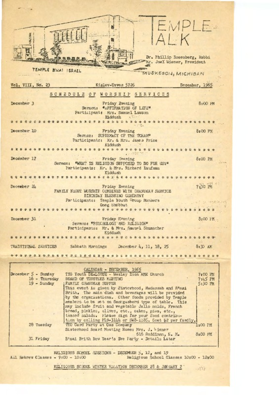 Go to Temple B'nai Israel Bulletin, December 1965 item page