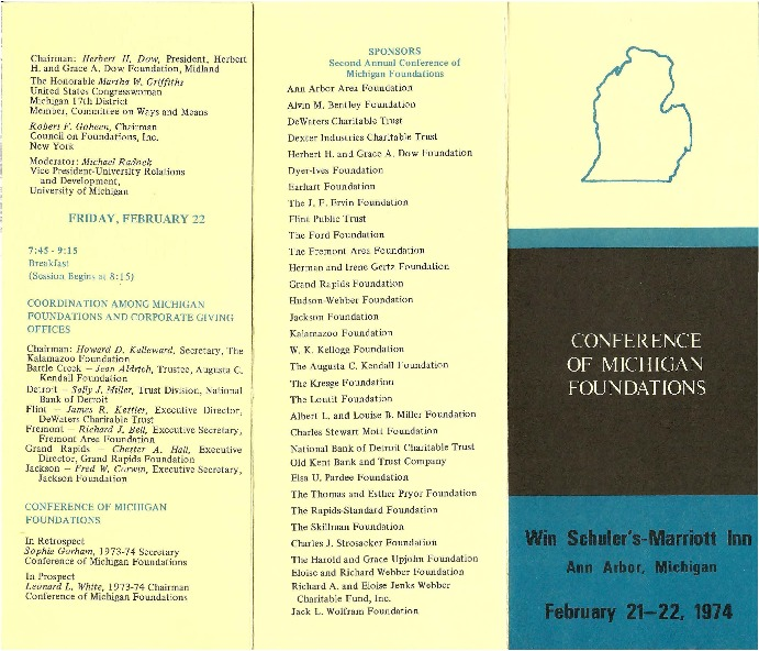 Go to Council of Michigan Foundations 1974 annual conference program item page