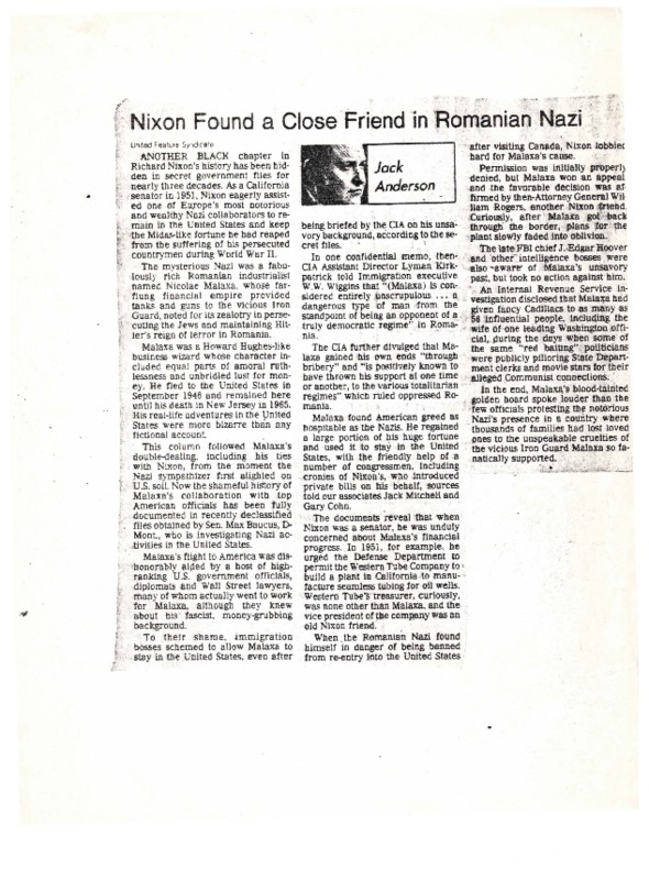 Go to Nixon Found a Close Friend in Romanian Nazi item page