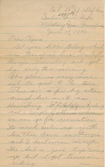 Go to Letter from Joe Olexa to Agnes Van Der Weide, June 19, 1942 item page