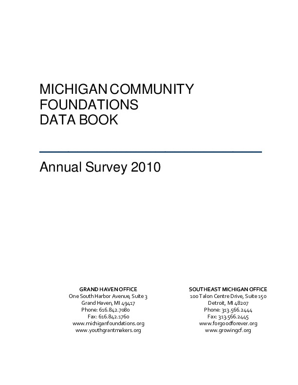 Go to Council of Michigan Foundations 2010 Data Book item page