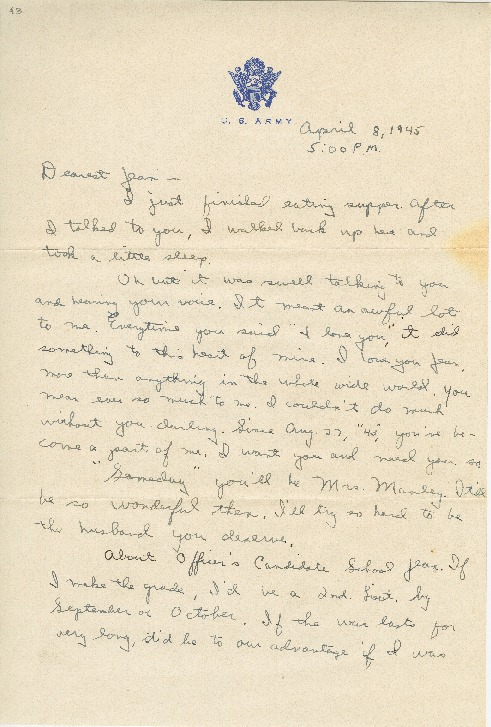 "Go to Letter to Jean Worthington by Edward ""Ned"" Manley, April 08, 1945. item page"