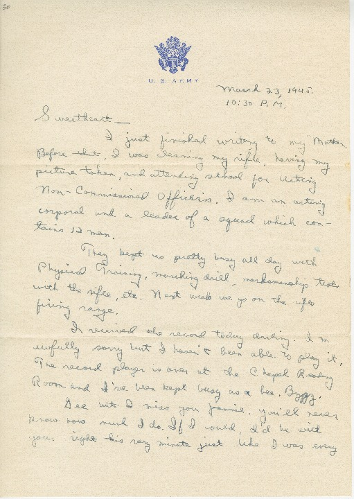 "Go to Letter to Jean Worthington by Edward ""Ned"" Manley, March 23, 1945. item page"