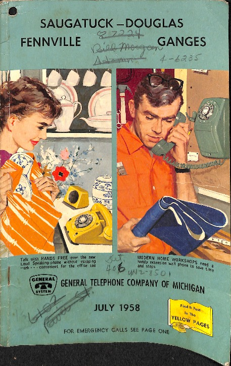 Go to 1958 Saugatuck-Douglas telephone directory item page
