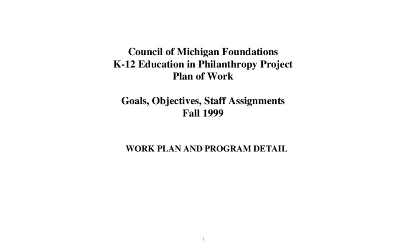 Go to Learning to Give 1999 draft plan of work and program detail item page