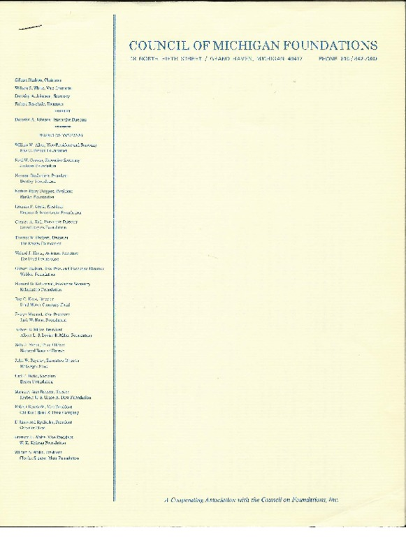 Go to Council of Michigan Foundations 1978 annual conference registrants item page