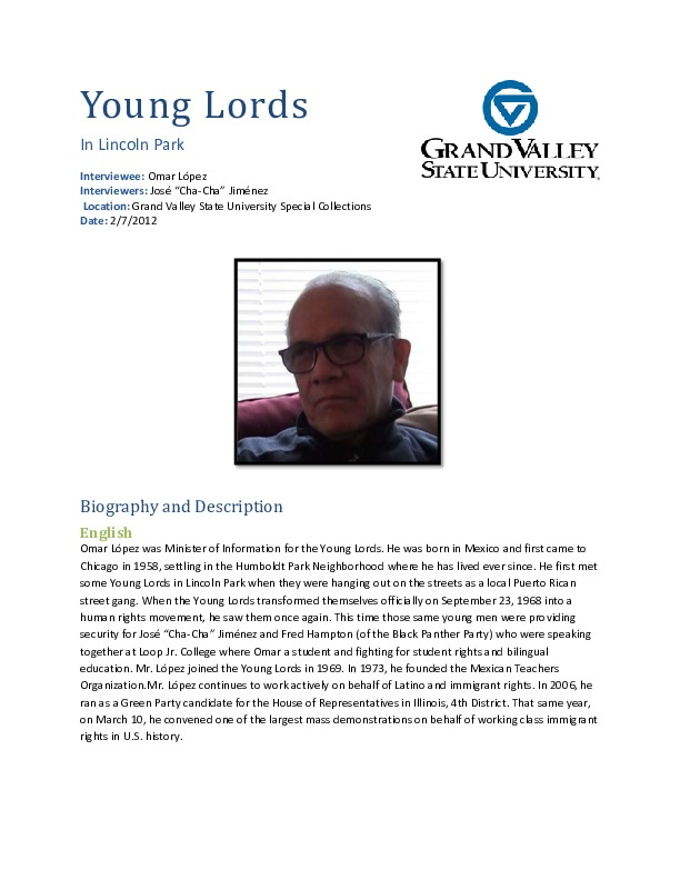 Go to Omar López video interview and biography, interview 1 item page