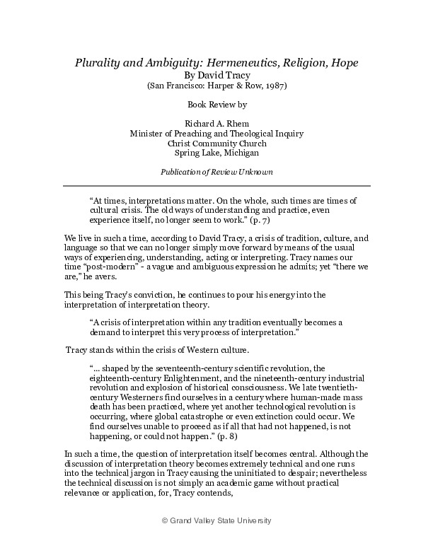 Go to Plurality and Ambiguity: Hermeneutics, Religion, Hope item page