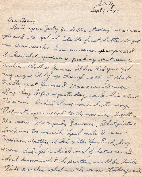 Go to Letter from Joe Olexa to Agnes Van Der Weide, September 1, 1943 item page
