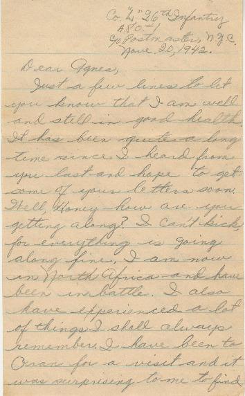 Go to Letter from Joe Olexa to Agnes Van Der Weide, November 20, 1942 item page