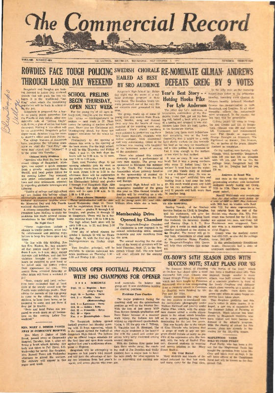 Go to The Commercial Record - September 3, 1964 item page