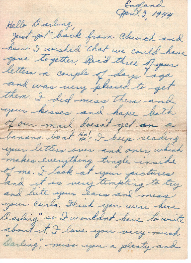 Go to Letter from Joe Olexa to Agnes Van Der Weide, April 2, 1944 item page