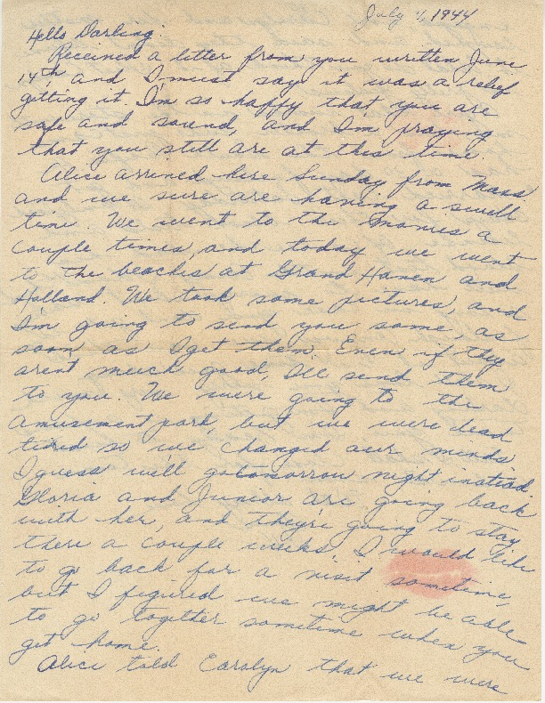 Go to Letter from Agnes Van Der Weide to Joe Olexa, July 4, 1944 item page
