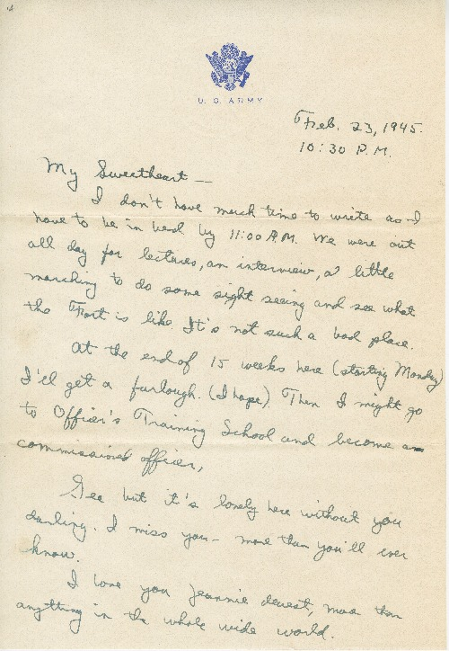 """Go to Letter to Jean Worthington by Edward """"Ned"""" Manley, February 23, 1945. item page"""