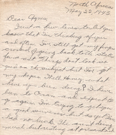 Go to Letter from Joe Olexa to Agnes Van Der Weide, May 22, 1943 item page