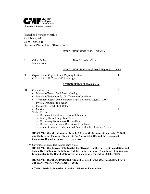 Go to Council of Michigan Foundations 2011-10-09 board book board agenda item page