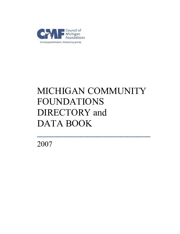 Go to Council of Michigan Foundations 2007 Directory and Data Book item page