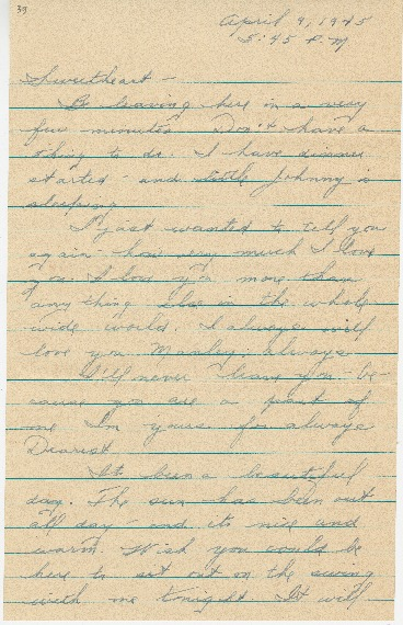 "Go to Letter to Edward ""Ned"" Manley by Jean Worthington, April 09, 1945. item page"