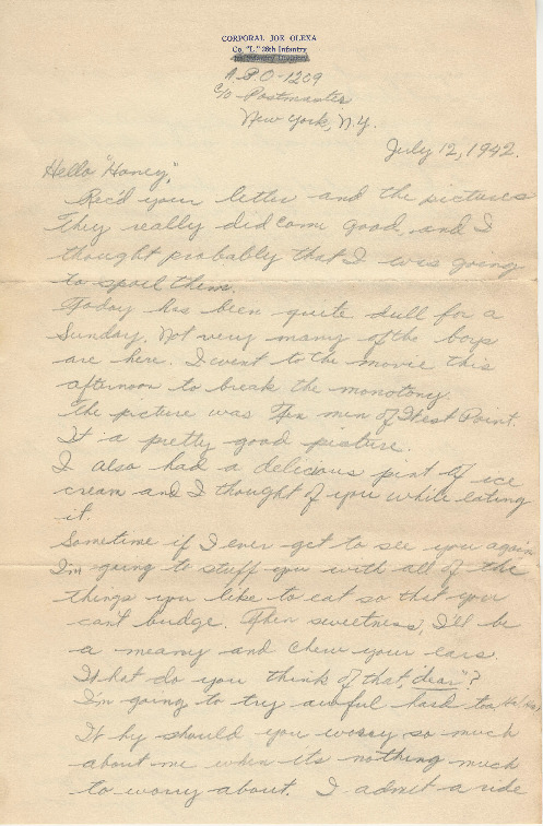Go to Letter from Joe Olexa to Agnes Van Der Weide, July 12, 1942 item page