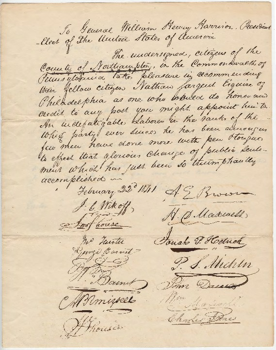 Petition to President-elect W. H. Harrison for any position, February 22, 1841