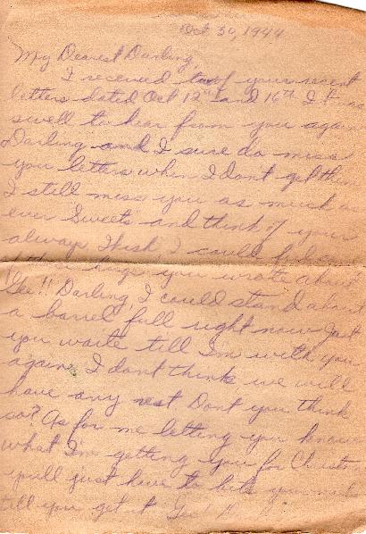 Go to Letter from Joe Olexa to Agnes Van Der Weide, October 30, 1944 item page