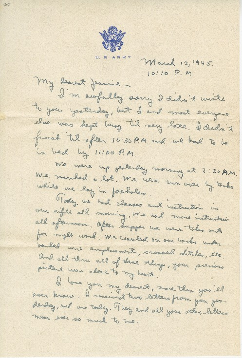 "Go to Letter to Jean Worthington by Edward ""Ned"" Manley, March 13, 1945. item page"