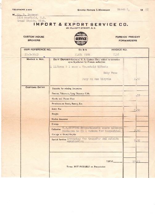Go to Duty deposit receipt item page