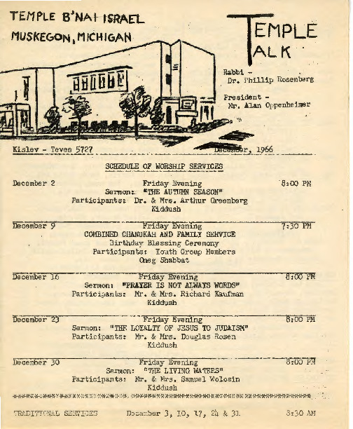 Go to Temple B'nai Israel Bulletin, December 2, 1966 item page