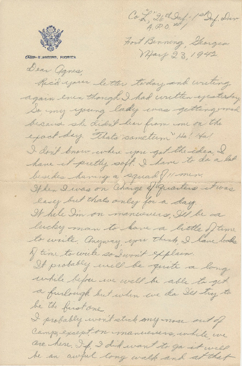 Go to Letter from Joe Olexa to Agnes Van Der Weide, May 23, 1942 item page