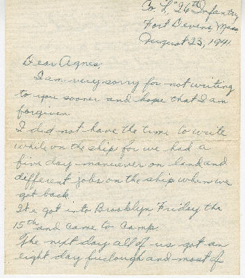 Go to Letter from Joe Olexa to Agnes Van Der Weide, August 23, 1941 item page