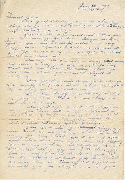 "Go to Letter to Edward ""Ned"" Manley by Jean Worthington, June 30, 1945. item page"