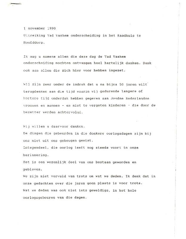 Go to Uitreiking Yad Vashem onderscheiding in het Raadhuis te Hoofddorp item page