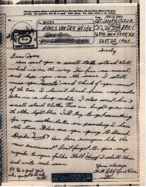Go to Letter from Joe Olexa to Agnes Van Der Weide, September 22, 1943 item page