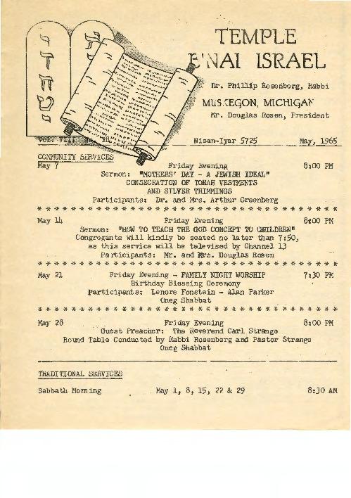 Go to Temple B'nai Israel Bulletin, May 1965 item page