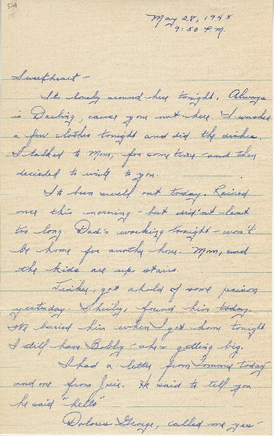 "Go to Letter to Edward ""Ned"" Manley by Jean Worthington, May 28, 1945. item page"