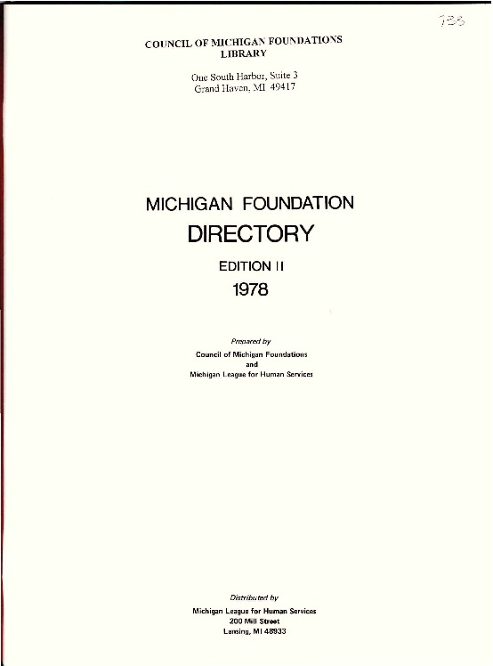 Go to Council of Michigan Foundations 1978 Michigan Foundation Directory e2 excerpts item page