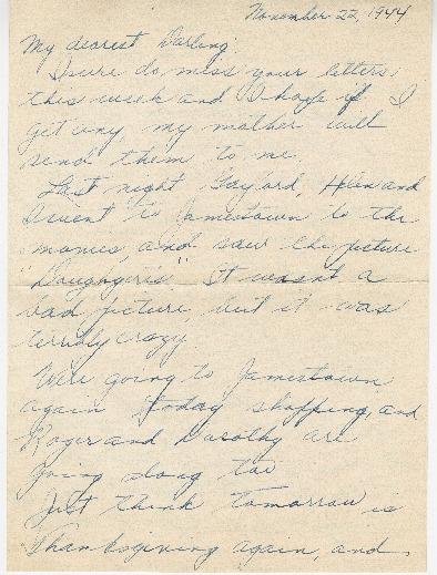 Letter from Agnes Van Der Weide to Joe Olexa, November 22, 1944