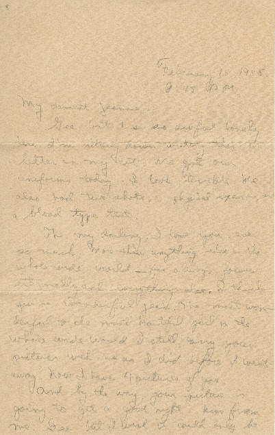 "Go to Letter to Jean Worthington by Edward ""Ned"" Manley, February 16, 1945. item page"