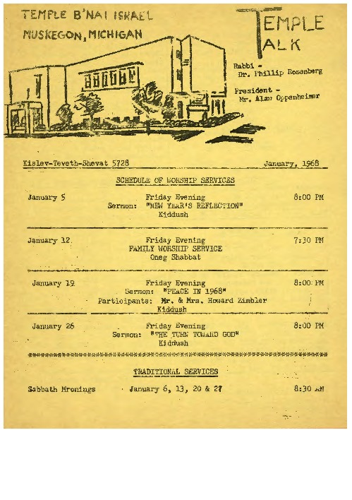 Go to Temple Talk, January 1968 item page