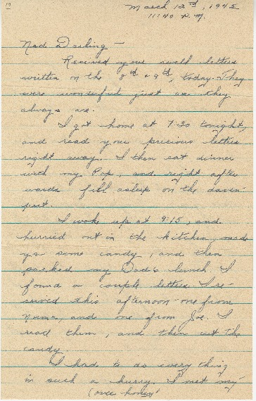 "Go to Letter to Edward ""Ned"" Manley by Jean Worthington, March 12, 1945. item page"