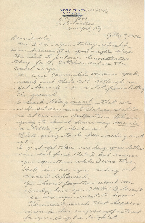 Go to Letter from Joe Olexa to Agnes Van Der Weide, July 7, 1942 item page